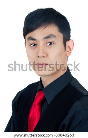 Tough Asian man in black - stock photo