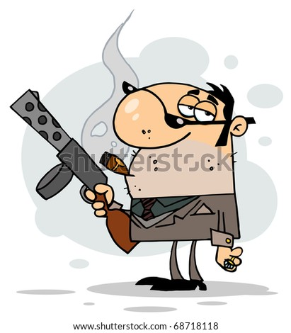 Tough Cigar Smoking Gangster Holding A Submachine Gun - stock photo