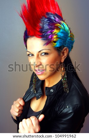 Tough girl with a wig - stock photo