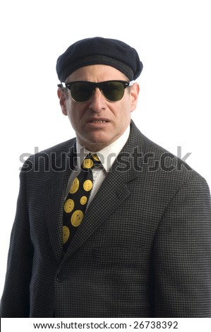 tough looking spy secret service fbi man with sunglasses and french beret hat - stock photo