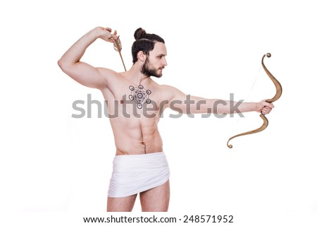 Tough man with bow and arrows. Cupid, Valentine, Greece, Antiquity. Studio portrait isolated over white background   - stock photo