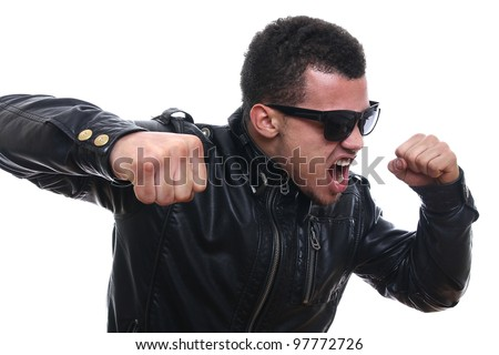 tough man with sunglasses fighting