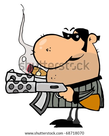 Tough Mobster Holding Two Machine Guns And Smoking A Cigar - stock photo