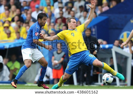 TOULOSE- FRANCE,  JUNE 2016 : Eder and Kallstrom  in action during football match  of Euro 2016  in France between ITALY VS SWEDEN at the Stade Municipal on June 17, 2016 in Toulose