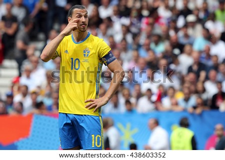 TOULOSE- FRANCE,  JUNE 2016 :  Ibrahimovic   in action during football match  of Euro 2016  in France between ITALY VS SWEDEN at the Stade Municipal on June 17, 2016 in Toulose