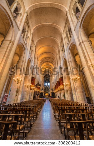 TOULOUSE, FRANCE - JUNE 02 2015: The Basilica of St. Sernin, built in Romanesque style between 1080 and 1120 in Haute-Garonne, Midi Pyrenees, France.