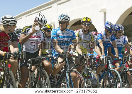 Tour de France Lance Armstrong at Men's Professional category of the Garrett Lemire Memorial Grand Prix National Racing Circuit (NRC) on April 10, 2005 in Ojai, CA where he finished 15th in the race - stock photo