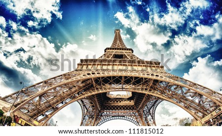 Tour Eiffel, Wideangle Street view - Paris - stock photo