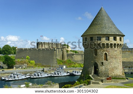 Tour Tanguy and Old castle of city Brest, Finistere, Brittany, France - stock photo