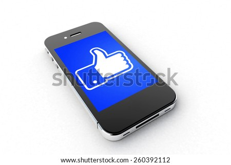 Tourin, Italy - March 14, 2015: Black Smart Phone with Like symbol of Facebook Social Network on the white Table. - stock photo