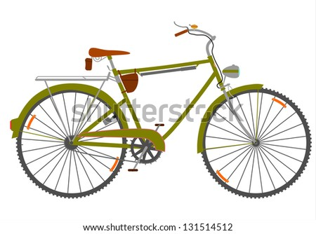 Touring bike in a retro style on a white background.