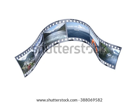 Tourism and travel concept. Photography film strip developing a Norway cruise travel (photos by same author). Clipping path on film strips,frames and perforations. - stock photo