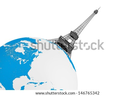 Tourism Concept. Eiffel Tower over Earth Globe on a white background - stock photo