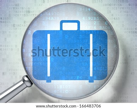 Tourism concept: magnifying optical glass with Bag icon on digital background, 3d render - stock photo
