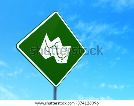 Tourism concept: Map on road sign background - stock photo