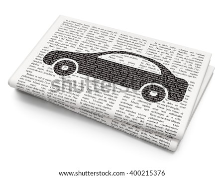 Tourism concept: Pixelated black Car icon on Newspaper background, 3D rendering - stock photo