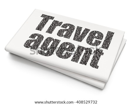 Tourism concept: Pixelated black text Travel Agent on Blank Newspaper background, 3D rendering