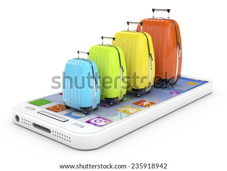 Tourism concept: smartphone with colored Bags on display. Mobile smart phone on White background, cell phone 3d render