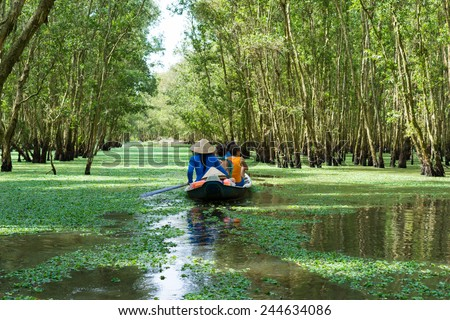 Tourism rowing boat in Tra Su flooded indigo plant forest in An Giang, Mekong delta, Vietnam