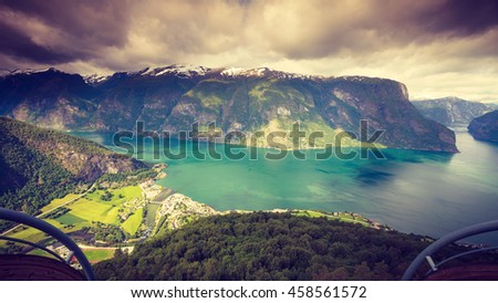 Tourism vacation and travel. Fantastic view of the Aurland fjord landscape from Stegastein viewpoint, Norway Scandinavia.