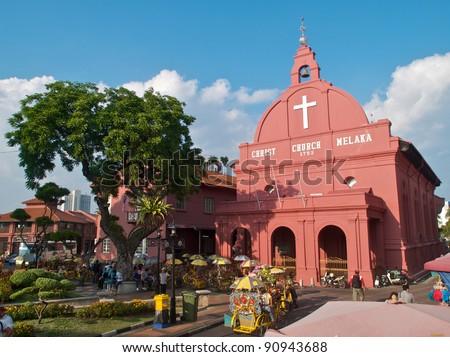 Tourist Activity in front of Christ Church Melaka, Malacca, Malaysia - stock photo