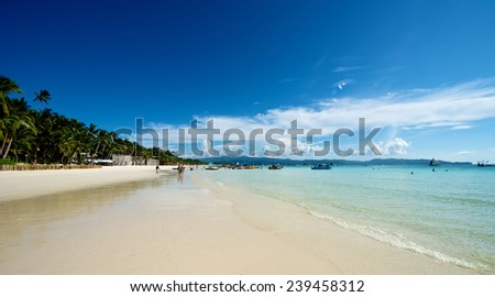 Tourist beach view in Boracay Island in the Philippines. - stock photo