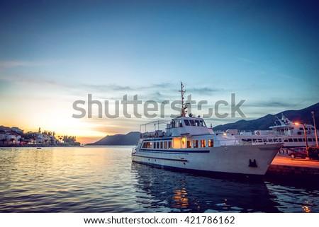 Tourist boat at marina at Croatian island of Korcula. Adriatic sea. - stock photo