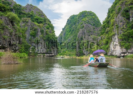 Tourist boat most popular place in Vietnam - stock photo