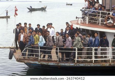 Tourist boat on Erhai Lake in Dali, Yunnan Province, People's Republic of China - stock photo