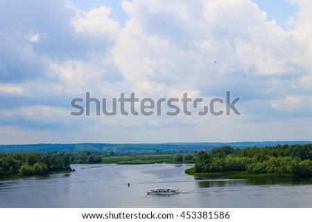 Tourist boat on the Dnieper river in Kremenchug, Ukraine