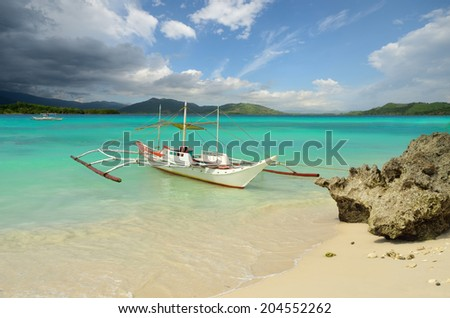 Tourist boat on the docks, the island of Boracay, Philippines - stock photo