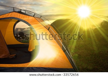 tourist camp in a morning - stock photo