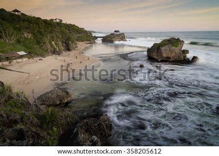 Tourist centre at the Kukup beach near Jogjakarta, Java,  Indonesia - stock photo