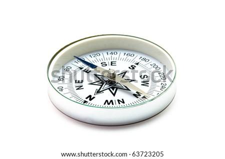 Tourist compass on a white background - stock photo