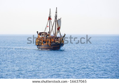 Tourist cruise on a pirate sailing ship - stock photo