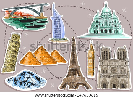 tourist destination pictures. Raster version of vector illustration  - stock photo