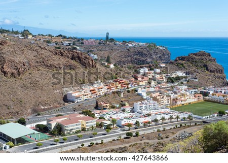 Tourist destination Playa de Santiago on the canary island La Gomera. The village is situated in the south of the island, where it is dry. The sun shines every day - stock photo