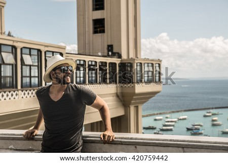 Tourist enjoying a nice view in Salvador, Bahia, Brazil