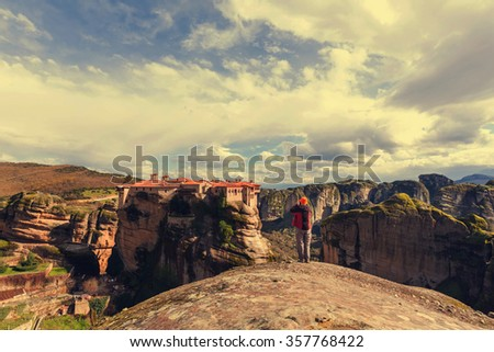 Tourist in Meteora, Greece - stock photo