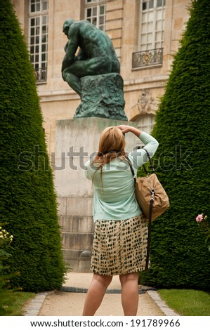 tourist in Rodin Museum in Paris - stock photo