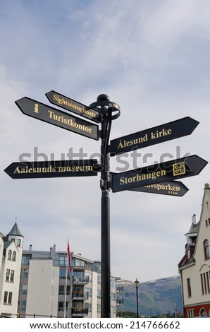 Tourist info in a signpost. Alesund, Norway - stock photo