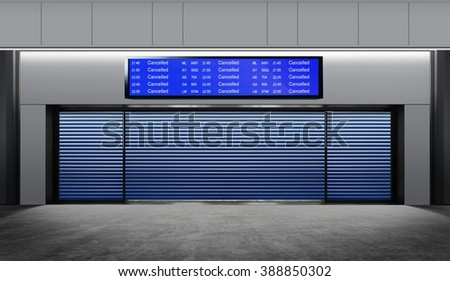 Tourist info signage in airport, cancelled flight - stock photo