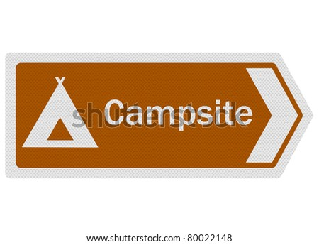 Tourist information series: photo-realistic metallic, reflective 'Campsite' sign, isolated on white - stock photo