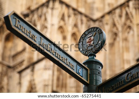 tourist information sign with York Minster on the background  in York - stock photo