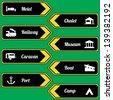 Tourist locations icon set black-yellow - stock vector