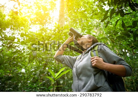 Tourist looking through binoculars considers wild birds in the jungle.