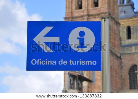 Tourist office sign in blue. Astorga, Le�³n, Castilla y Le�³n, Spain - stock photo