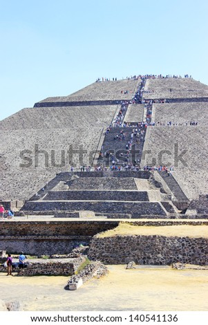 Tourist on the  pyramids in Teotihuacan, Mexico