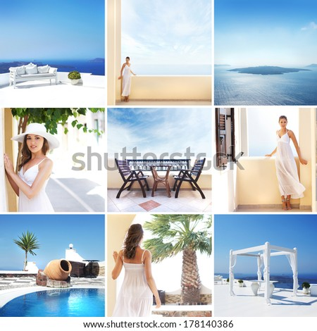 Tourist resort in Greece (Santorini island). Collage of different pictures. - stock photo