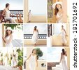 Tourist resort in Greese (Santorini). Collection of many different photos of young and beautiful woman in white dress. - stock photo